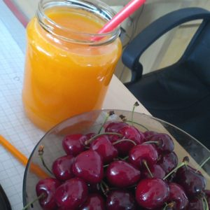 orange juice and cherries