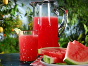 Watermelon juice and slice